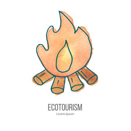 ecotourism: Bonfire with logs and flame. Ecotourism monochromatic line design element on hand painted abstract watercolor texture.