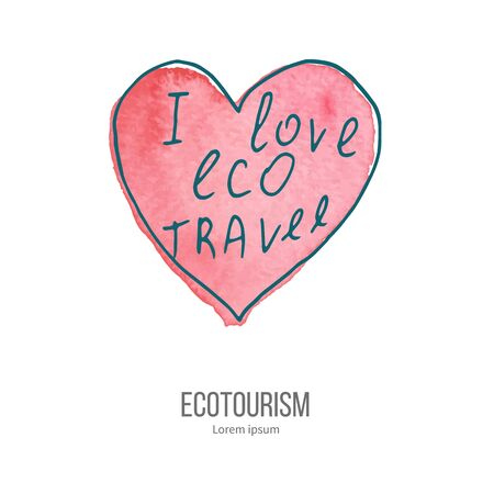 ecotourism: Heart with phrase I love eco travel. Ecotourism monochromatic line design element on hand painted abstract watercolor texture. Emblem, logo template isolated on white background. Hand drawn doodle vector illustration.