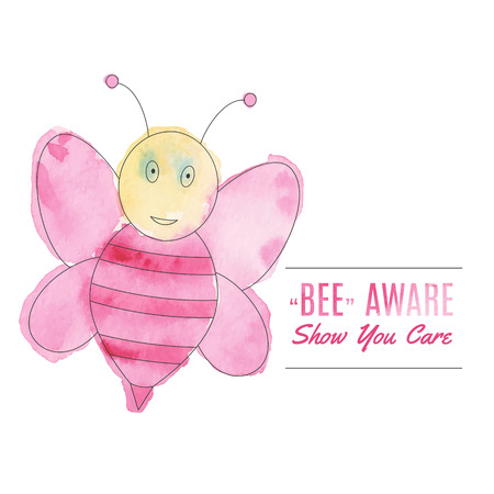 fighting cancer: Cute flying bee. Breast cancer awareness flyer, poster with thin line icon on abstract watercolor texture. Vector template with breast cancer design elements isolated on white background.