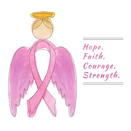 fighting cancer: Angel wings with breast cancer awareness ribbon. Flyer, poster with thin line icon on abstract watercolor texture. Vector template with breast cancer design elements isolated on white background. Illustration