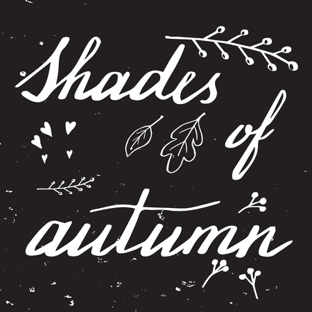 letras negras: Autumn lettering and calligraphy design. Handwritten phrases. Modern brush font on autumn theme isolated on black background. Unique hand drawn calligraphic design elements for t-shirt, greeting card. Vectores