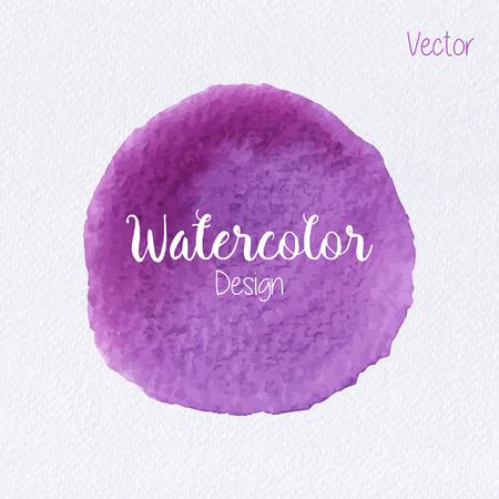 Hand painted watercolor circle on watercolor paper texture. Watercolor abstract backdrop. Watercolor vector background. Watercolor stain. Violet watercolor blot. Watercolor clip art for your design.