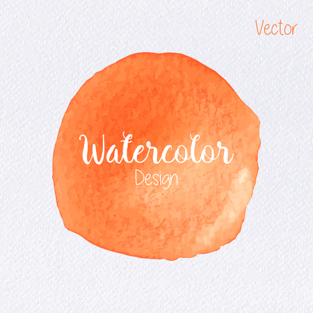 Hand painted watercolor circle on watercolor paper texture. Watercolor abstract backdrop. Watercolor vector background. Watercolor stain. Orange watercolor blot. Watercolor clip art for your design. Illustration