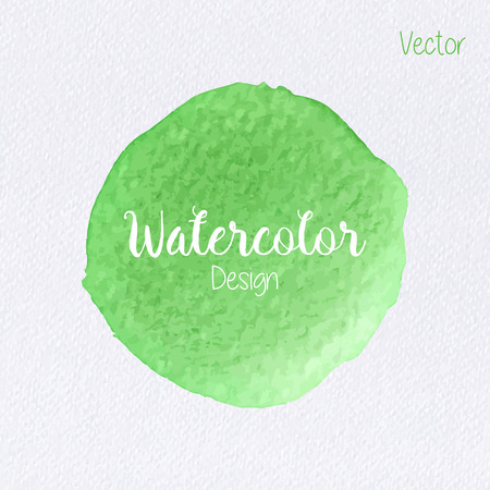 Hand painted watercolor circle on watercolor paper texture. Watercolor abstract backdrop. Watercolor vector background. Watercolor stain. Green watercolor blot. Watercolor clip art for your design.