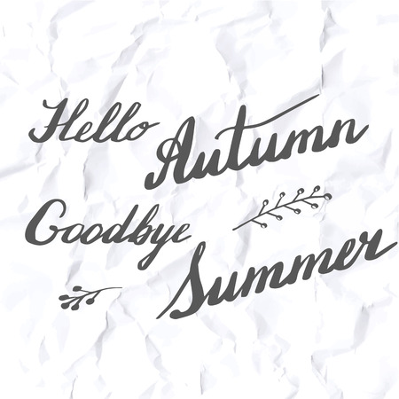 Autumn lettering and calligraphy design. Handwritten phrases. Modern brush font on autumn theme isolated on crumpled paper texture. Unique hand drawn calligraphic design elements. Vector illustration. 向量圖像