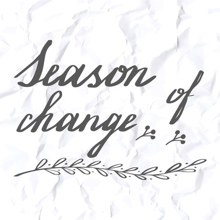 crumpled paper texture: Autumn lettering and calligraphy design. Handwritten phrases. Modern brush font on autumn theme isolated on crumpled paper texture. Unique hand drawn calligraphic design elements. Vector illustration. Illustration