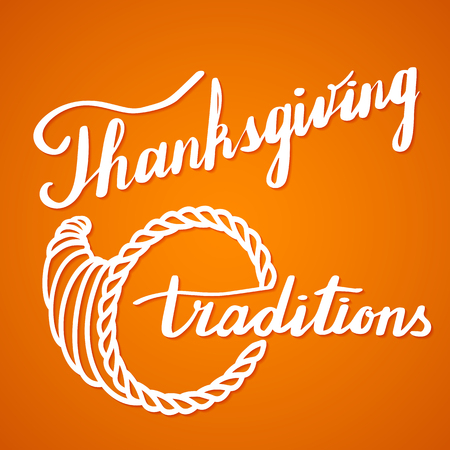 Thanksgiving calligraphy lettering. Handwritten quote in brush pen style with shadow on orange gradient. Template with unique hand drawn Thanksgiving calligraphic design elements. Vector illustration.