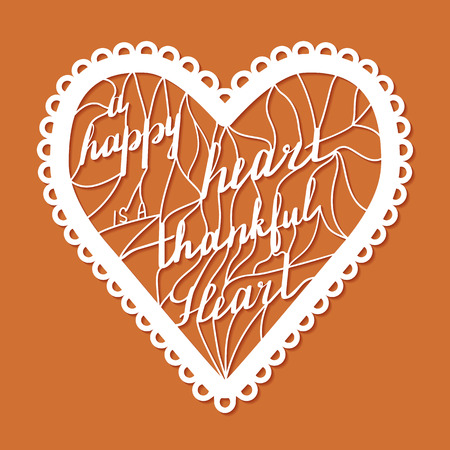 Thanksgiving laser cut template. Paper cutting ornamental panel. Die cut card. Lace laser cut metal panel, wood carving, laser cut plastic. Stencil lacy carved openwork pattern. Vector illustration.