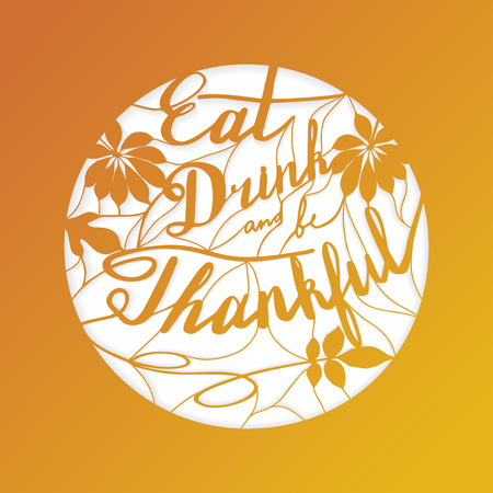 kirigami: Thanksgiving laser cut template. Paper cutting ornamental panel. Die cut card. Lace laser cut metal panel, wood carving, laser cut plastic. Stencil lacy carved openwork pattern. Vector illustration.