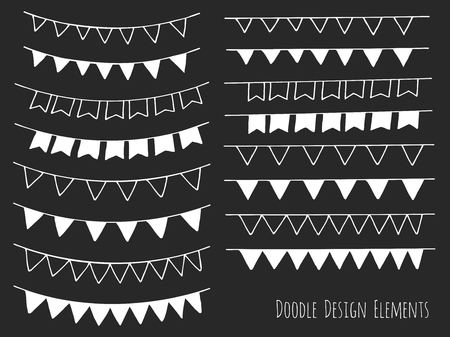 sketched shapes: Collection of hand drawn doodle design elements isolated on black background. Set of handdrawn borders. Bunting flags, banners. Abstract hand sketched shapes. Vector illustration.