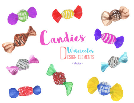 Hand painted watercolor assorted candies. Set of 10 colorful, bright watercolor graphic design elements isolated on white background. Chocolate sweets, candies, caramel collection. Vector illustration