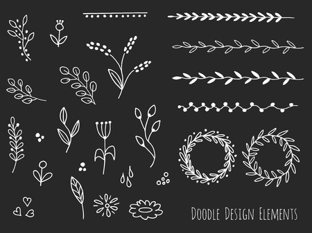 sketched shapes: Collection of hand drawn doodle design elements isolated on black background. Set of handdrawn borders, laurel wreaths, floral dividers, ribbons. Abstract hand sketched shapes. Vector illustration.