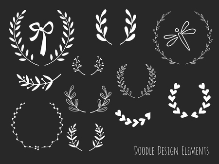 sketched shapes: Collection of hand drawn doodle design elements isolated on black background. Set of handdrawn dragonfly, laurel wreaths, floral dividers, ribbon. Abstract hand sketched shapes. Vector illustration.