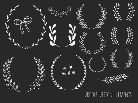 Collection of hand drawn doodle design elements isolated on black background. Set of handdrawn borders, laurel wreaths, floral dividers, ribbon. Abstract hand sketched shapes. Vector illustration.