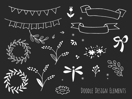 sketched shapes: Collection of hand drawn doodle design elements isolated on black background. Set of handdrawn dragonfly, borders, laurel wreath, floral dividers, bunting flags. Sketched shapes. Vector illustration. Illustration