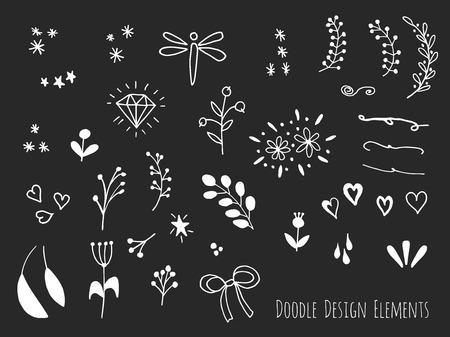 sketched shapes: Collection of hand drawn doodle design elements isolated on black background. Set of handdrawn borders, laurels, floral dividers, ribbon, leaf, diamond. Abstract hand sketched shapes. Vector illustration. Illustration