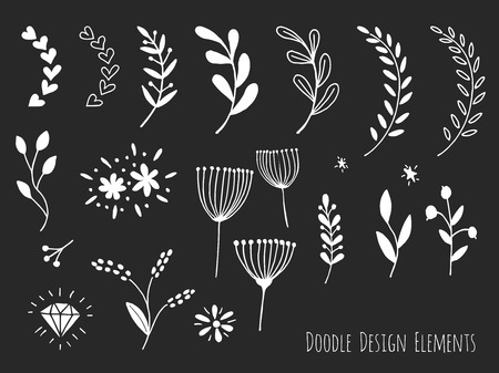 sketched shapes: Collection of hand drawn doodle design elements isolated on black background. Set of handdrawn borders, laurel, floral dividers, flowers, diamond. Abstract hand sketched shapes. Vector illustration.