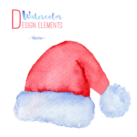 Hand painted watercolor Santa Claus red hat. Watercolour Christmas cap icon, symbol, decoration. Christmas season design element isolated on white background. Vector illustration. Vettoriali