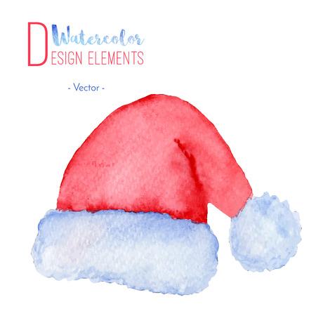 Pintado a mano acuarela de Santa Claus sombrero rojo. icono de acuarela casquillo de la Navidad, símbolo, decoración. Navidad elementos de diseño de la temporada aislado sobre fondo blanco. Ilustración del vector. Foto de archivo - 64655409