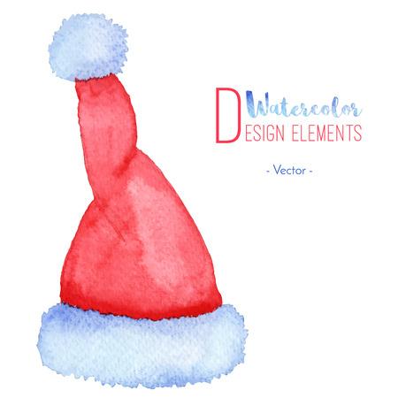Pintado a mano acuarela de Santa Claus sombrero rojo. icono de acuarela casquillo de la Navidad, símbolo, decoración. Navidad elementos de diseño de la temporada aislado sobre fondo blanco. Ilustración del vector. Foto de archivo - 64655410