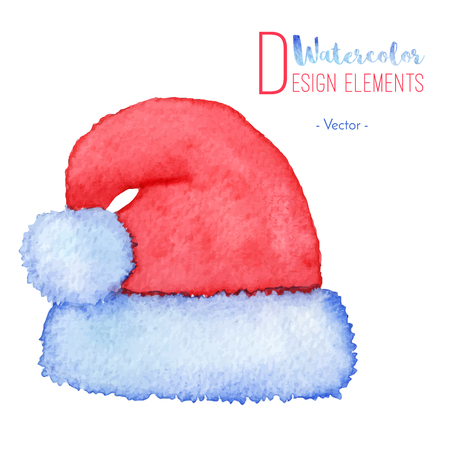 Hand painted watercolor Santa Claus red hat. Watercolour Christmas cap icon, symbol, decoration. Christmas season design element isolated on white background. Vector illustration. Illustration