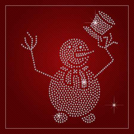 Holiday greeting card or poster. Shimmering cute snowman holding a hat. Christmas, brilliant stones template. Fashion ornament crystal precious, silver applique rhinestones, embroidery. Vector.