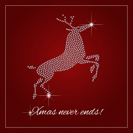 Christmas greeting card, poster. Shimmering diamond luxury Rednosed Reindeer. Christmas, brilliant stones template. Fashion ornament crystal precious, silver applique rhinestones, embroidery. Vector. Vectores