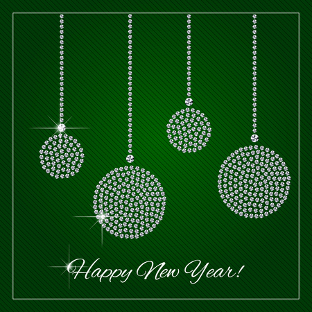 Christmas, New Year greeting card or poster. Shimmering diamond luxury Christmas balls, ornaments. Brilliant stone design. Fashion crystal precious, silver applique rhinestone, embroidery. Vector.