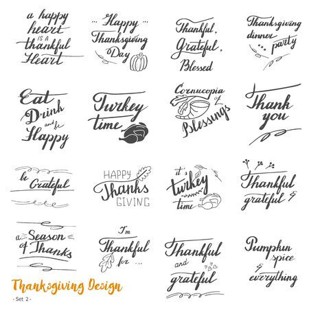 Big set of Thanksgiving hand lettering, calligraphy design elements isolated on white background. Handwritten phrases on Thanksgiving theme in modern black brush pen style. Vector illustration. Set 2. Vectores