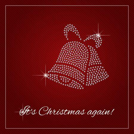 jingle bells: Christmas greeting card, poster. Shimmering diamond luxury Christmas, Jingle bells. Illustration