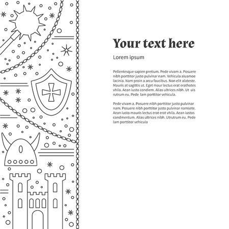 Poster, flyer with medieval line icons, symbols. Vectores