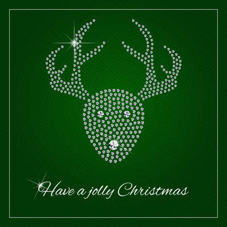Christmas Reindeer. Christmas greeting card or poster. Shimmering diamond luxury template.