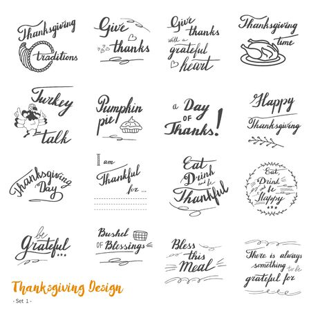 Big set of Thanksgiving hand lettering, calligraphy design elements isolated on white background. Vectores