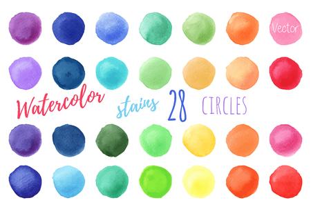 Hand painted rainbow watercolor circles. 向量圖像