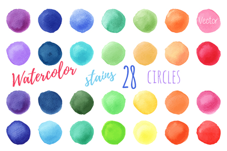 Hand painted rainbow watercolor circles. Vectores