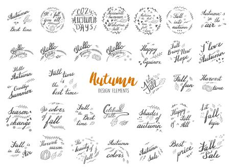 Big collection of autumn hand lettering and calligraphy design elements isolated on white background.
