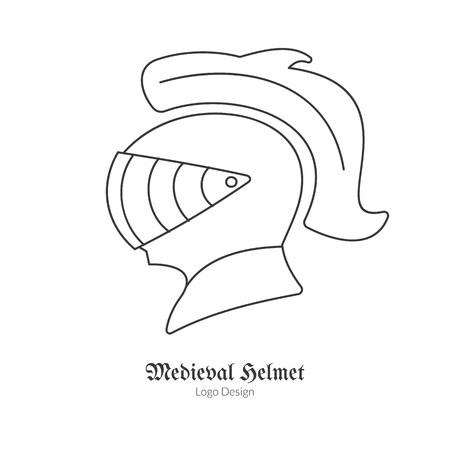 Medieval Knight protection helmet. in modern thin line style isolated on white background. Outline medieval theme symbol. Simple mono linear pictogram.