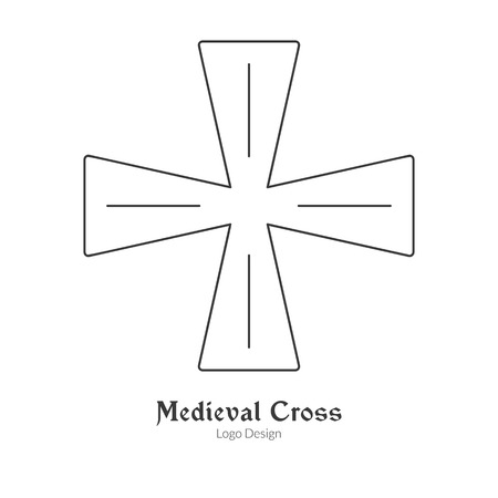 Medieval knight cross, insignia symbol.  in modern thin line style isolated on white background. Outline medieval theme symbol. Simple mono linear pictogram. Vectores