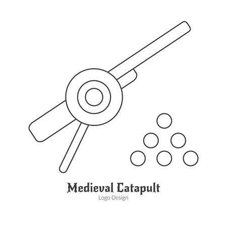 cult: Medieval cannon with cannonballs, catapult. in thin line style isolated on white background. Outline medieval theme symbol. Simple mono linear pictogram