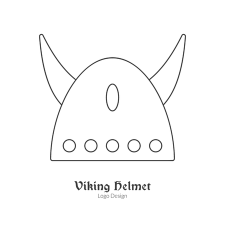 Medieval horned Viking helmet. Single viking in modern thin line style isolated on white background. Outline medieval theme symbol. Simple mono linear pictogram. Vectores