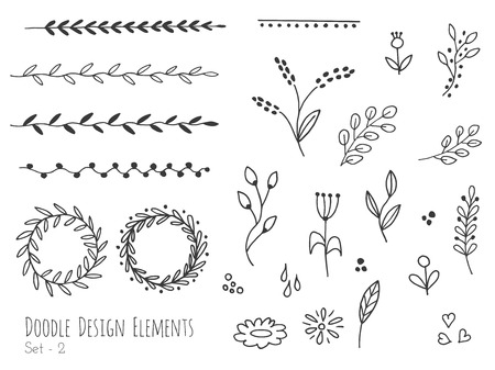 Collection of  doodle design elements isolated on white background. Set of  borders, laurel wreaths, floral dividers, ribbons. Abstract sketched shapes. illustration. Vectores