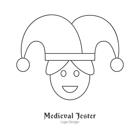 buffoon: Medieval jester, buffoon, juggler.  in modern thin line style isolated on white background. Outline medieval theme symbol. Simple mono linear pictogram. Illustration