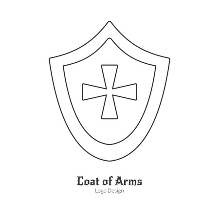 Medieval heraldic shield with insignia.  in modern thin line style isolated on white background. Outline medieval theme symbol. Simple mono linear pictogram.