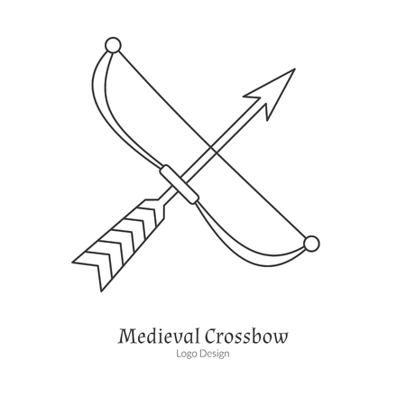 arbalest: Medieval crossbow, arbalest. Single archery in modern thin line style isolated on white background. Outline medieval theme symbol. Simple mono linear pictogram.