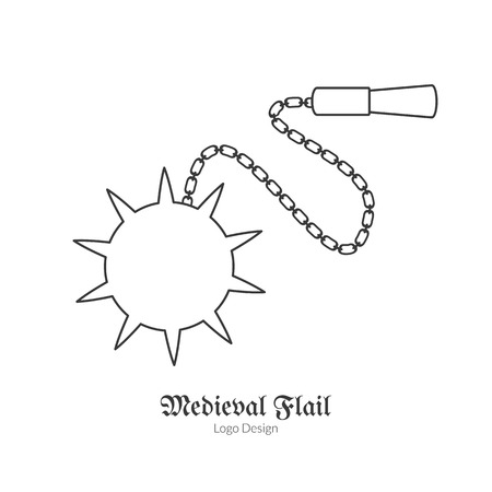 Medieval flail. Morning star.  in modern thin line style isolated on white background. Outline medieval theme symbol. Simple mono linear pictogram.