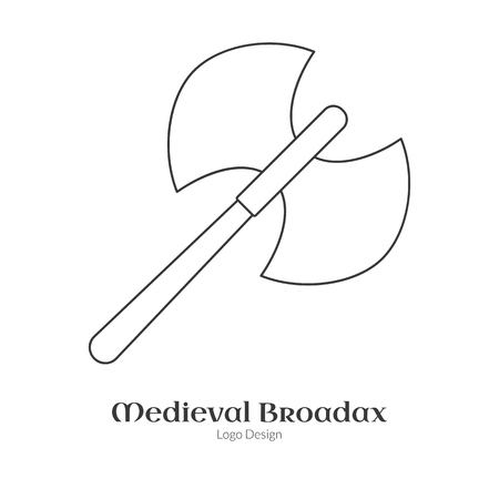 Medieval guard double axe, broadax. in modern thin line style isolated on white background. Outline medieval theme symbol. Simple mono linear pictogram. Vectores