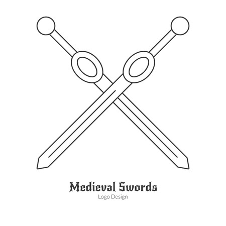 Medieval crossed swords. weapons in modern thin line style isolated on white background. Outline medieval theme symbol. Simple mono linear pictogram. Vectores