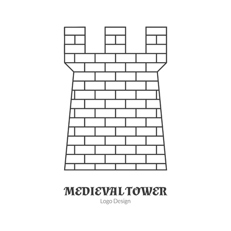 Medieval brick tower, fortification.in modern thin line style isolated on white background. Outline medieval theme symbol. Simple mono linear pictogram.