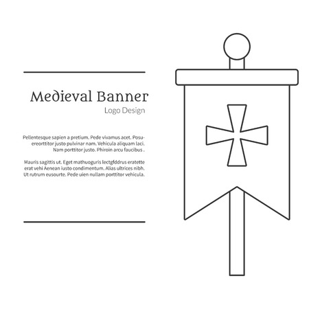 Medieval banner, knight flag.  in modern thin line style isolated on white background. Outline medieval theme symbol. Simple mono linear pictogram.