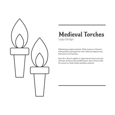 Two Medieval flame torches. Double torch in modern thin line style isolated on white background. Outline medieval theme symbol. Simple mono linear pictogram.